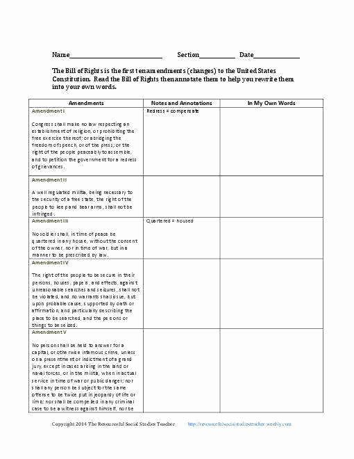 Bill Of Rights Worksheet Elegant Bill Rights Worksheet