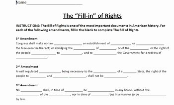 "Bill Of Rights Worksheet Inspirational the Fill In"" Of Rights by Connor Bradley"