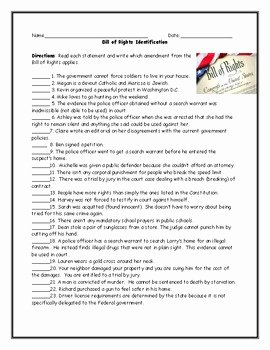 Bill Of Rights Worksheet Lovely Bill Of Rights Amendment Identification Worksheet with