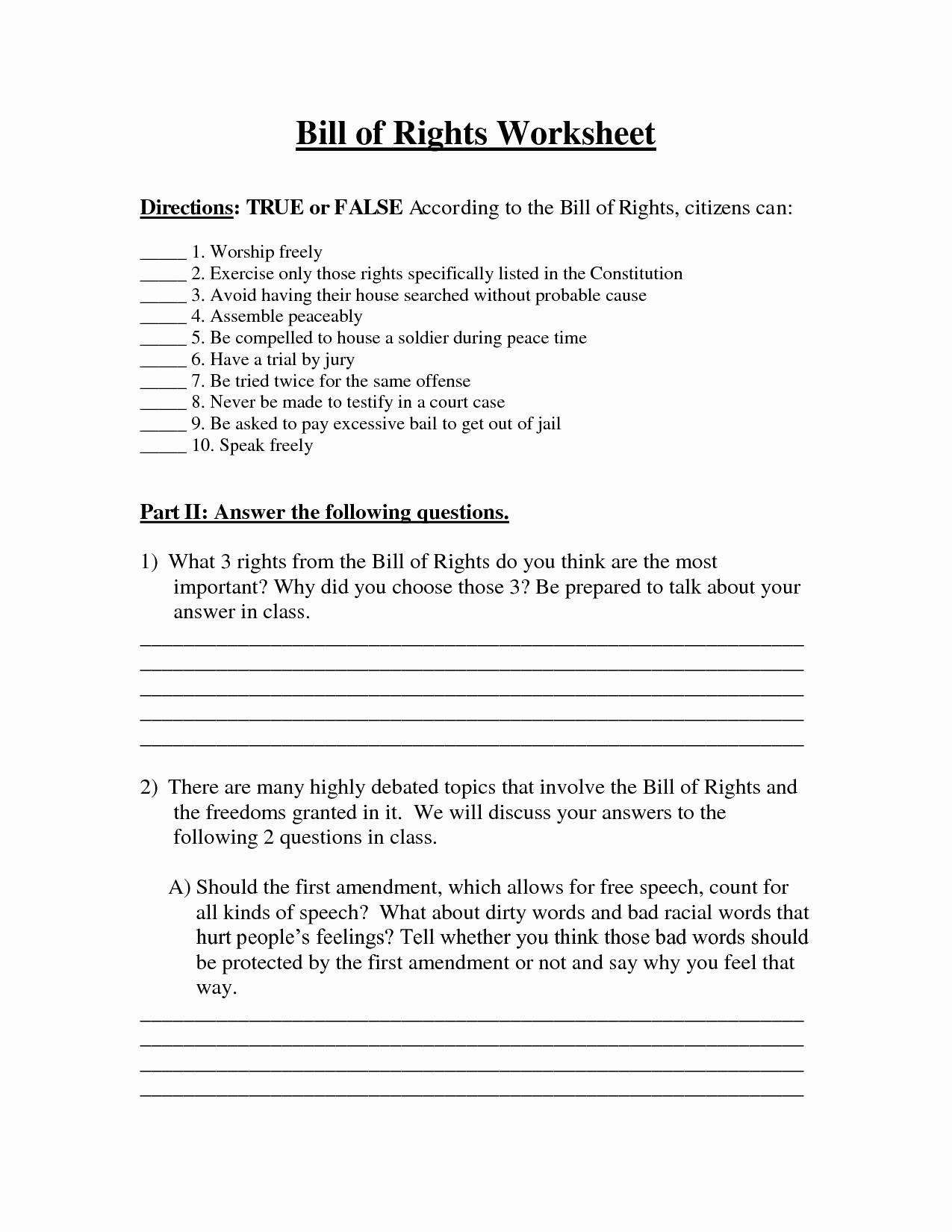 Bill Of Rights Worksheet Luxury 6 Best Of Bill Rights Amendments Worksheet
