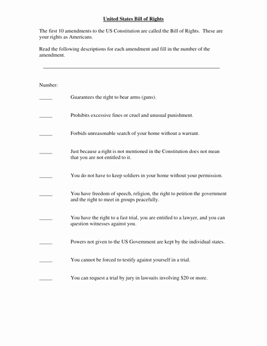 Bill Of Rights Worksheet Luxury Bill Of Rights Matching Exercise by Mhavran Teaching