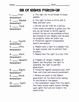Bill Of Rights Worksheet Luxury Ratification Of the Constitution Activities