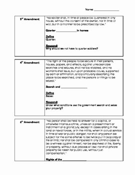 Bill Of Rights Worksheet Luxury U S Constitution Bill Of Rights Worksheet Dbq Read and