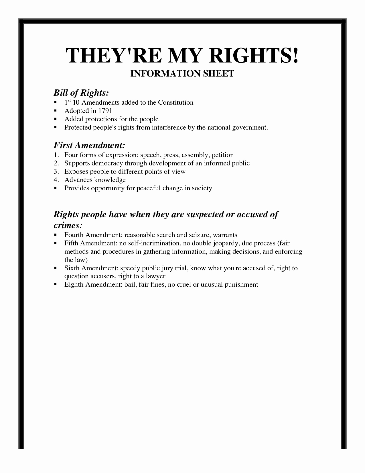 Bill Of Rights Worksheet Pdf Inspirational 6 Best Of Bill Rights Amendments Worksheet