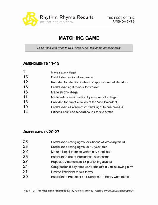 Bill Of Rights Worksheet Pdf Lovely 14 Best Of Amendment Matching Worksheet 27
