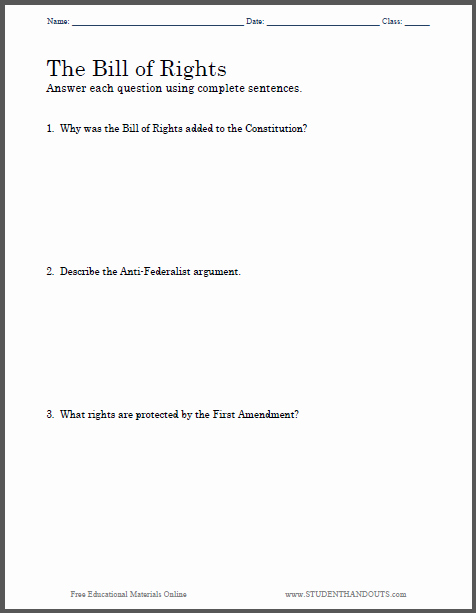 Bill Of Rights Worksheet Pdf Lovely Bill Of Rights Essay Questions Free to Print Pdf File