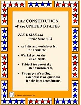 Bill Of Rights Worksheet Pdf Lovely U S Constitution Preamble and Bill Of Rights Worksheets
