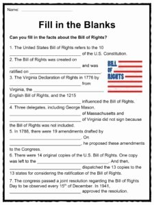 Bill Of Rights Worksheet Pdf New the United States Bill Of Rights Facts & Worksheets for Kids