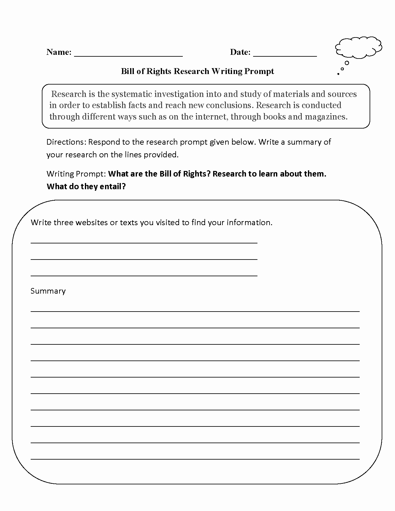 Bill Of Rights Worksheet Pdf New Writing Prompts Worksheets