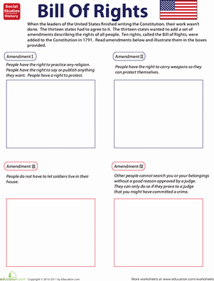 Bill Of Rights Worksheet Unique Illustrate the Bill Of Rights Free Worksheet