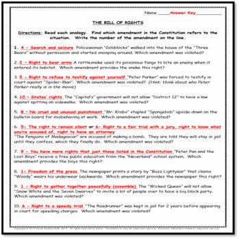 Bill Of Rights Worksheet Unique the Bill Of Rights Fun Analogy Worksheet Constitution Day