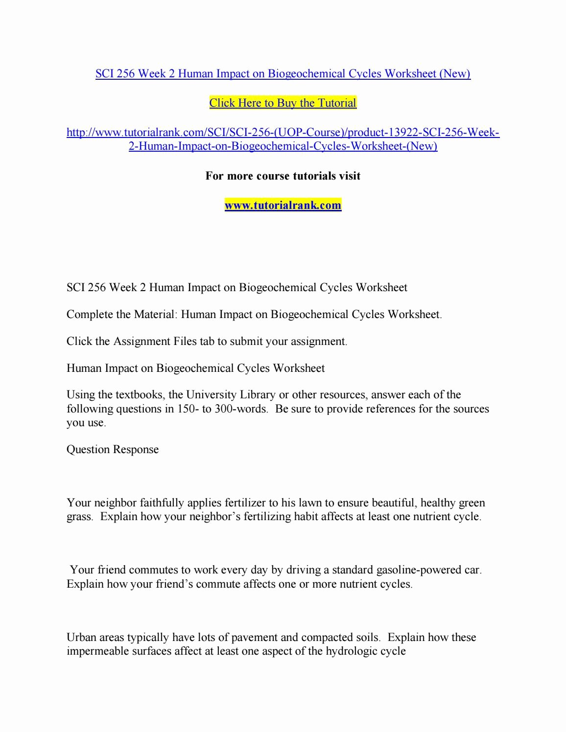 Biogeochemical Cycles Worksheet Answers New Sci 256 Week 2 Human Impact On Biogeochemical Cycles