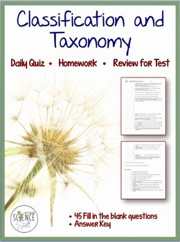 Biological Classification Worksheet Answer Key Lovely Classification Of Living organisms Taxonomy Quiz by Amy