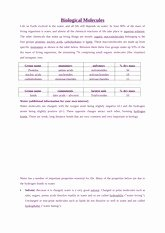 Biological Molecules Worksheet Answers Awesome Biological Molecules Review Key Biology 12 Biologically