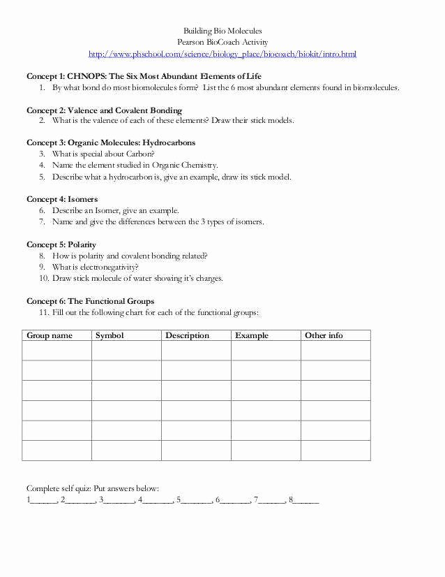 Biological Molecules Worksheet Answers Luxury Biomolecules Worksheet