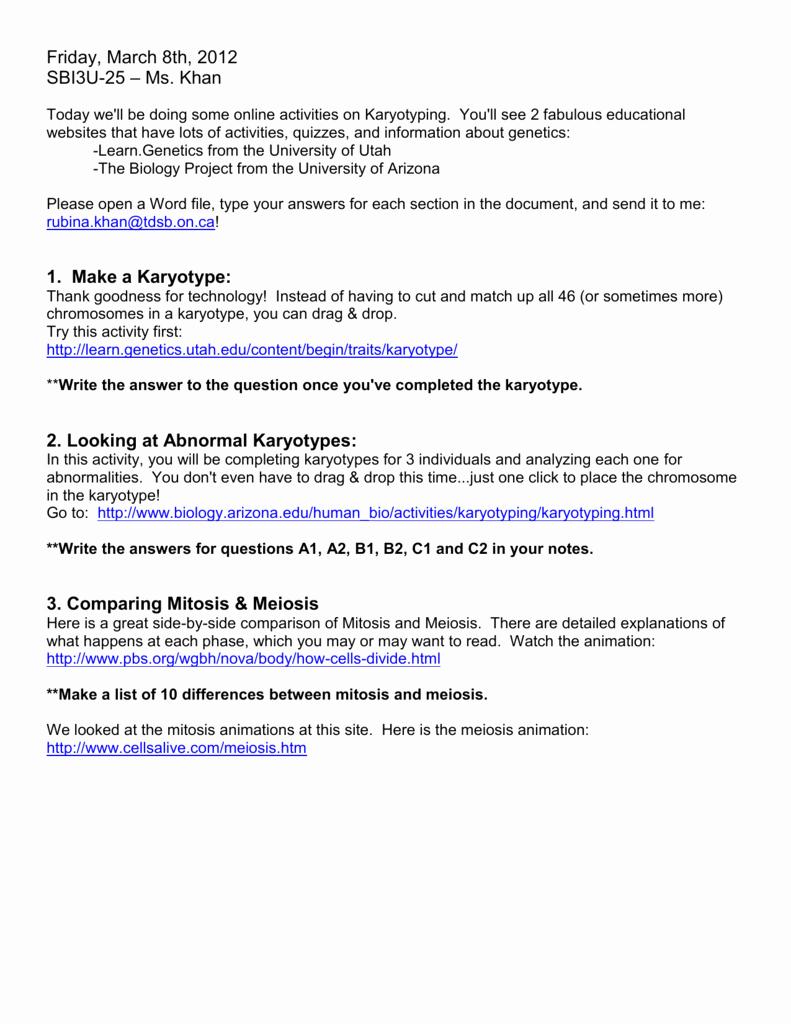 Biology Karyotype Worksheet Answers Key Beautiful Karyotyping Activity