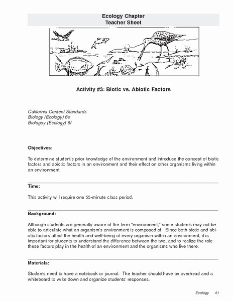 Biotic and Abiotic Factors Worksheet Best Of Abiotic and Biotic Factors Worksheet the Best Worksheets