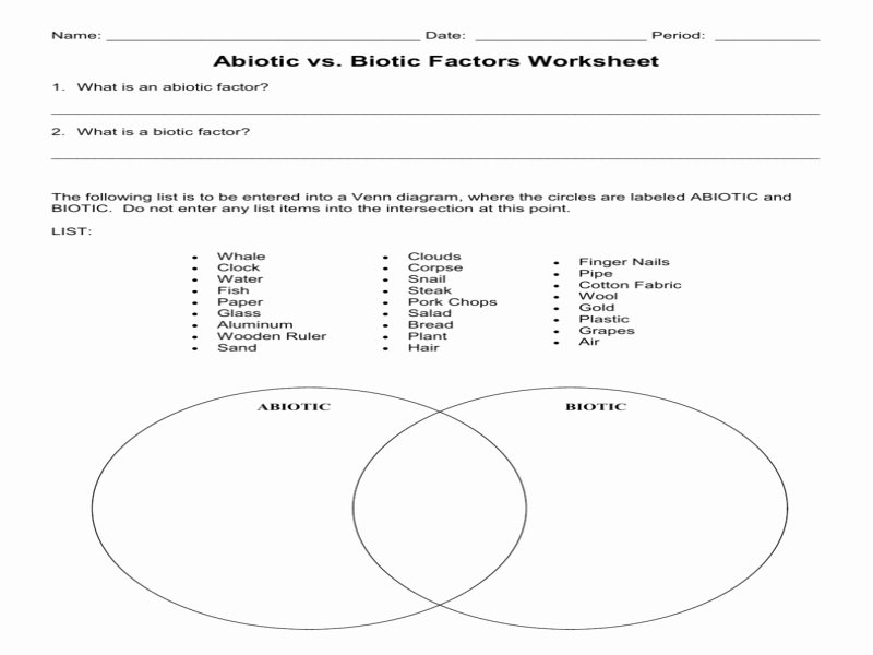 Biotic and Abiotic Factors Worksheet Fresh Biotic and Abiotic Factors Worksheet Free Printable