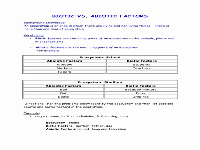 Biotic and Abiotic Factors Worksheet Inspirational Abiotic and Biotic Factors Worksheet Free Printable