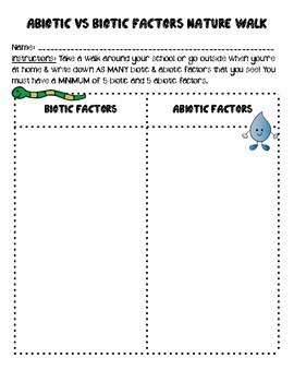 Biotic and Abiotic Factors Worksheet Unique Abiotic Vs Biotic Factors Nature Walk by Smith Science and