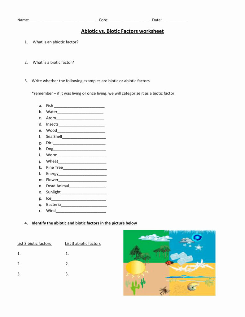 Biotic and Abiotic Factors Worksheet Unique Abiotic Vs Biotic Factors