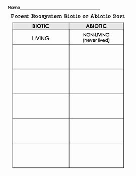 Biotic and Abiotic Factors Worksheet Unique Biotic or Abiotic sort Cut and Paste Living or Nonliving
