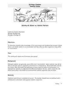 Biotic and Abiotic Factors Worksheet Unique Biotic Vs Abiotic Factors 9th 12th Grade Lesson Plan