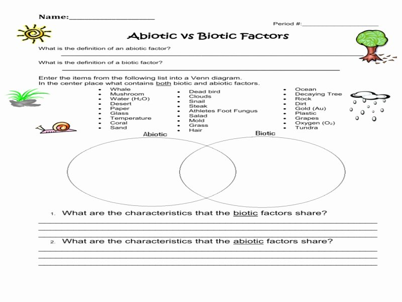 Biotic and Abiotic Factors Worksheet Unique Worksheet 1 Abiotic Versus Biotic Factors Free