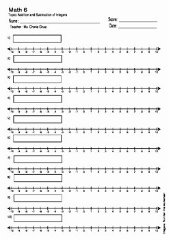 Blank Number Line Worksheet Elegant Addition and Subtraction Of Integers Number Line Blank