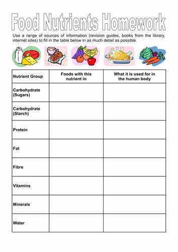 Blank Nutrition Label Worksheet Best Of Food Nutrients and Investigation Worksheet by Dazayling