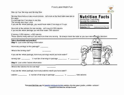 Blank Nutrition Label Worksheet Fresh Nutrition Label Worksheet