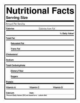Blank Nutrition Label Worksheet New Blank Nutrition Labels by the Barefoot Professor