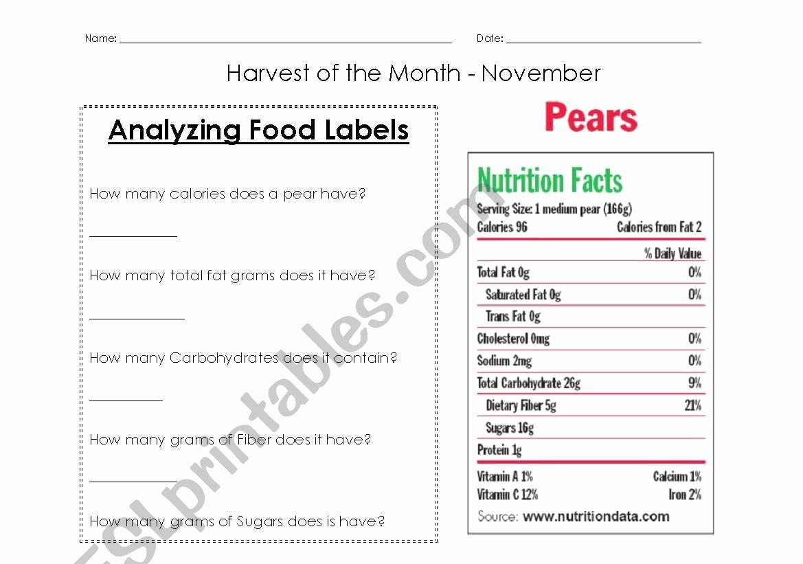 Blank Nutrition Label Worksheet New Nutrition Labels Worksheet