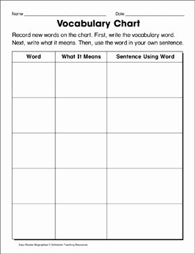 Blank Vocabulary Worksheet Template Elegant Vocabulary Chart Template