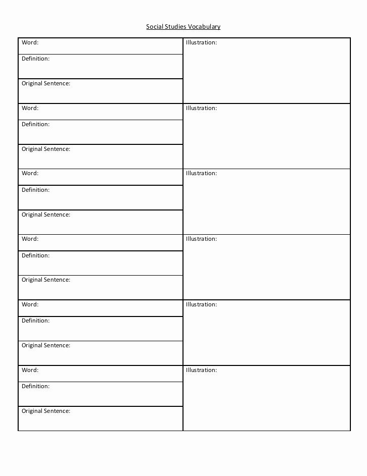 Blank Vocabulary Worksheet Template Fresh social Stu S Vocabulary Activity