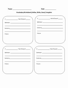 Blank Vocabulary Worksheet Template Inspirational Blank Vocabulary Terms Definitions and Sentences Worksheet