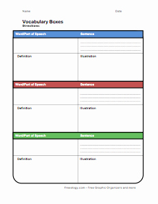 Blank Vocabulary Worksheet Template Lovely Vocabulary Boxes Freeology