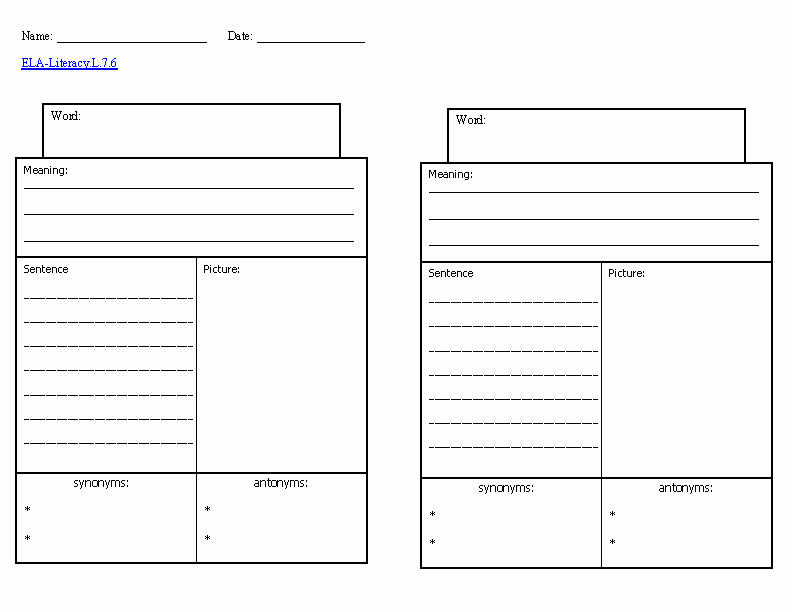 Blank Vocabulary Worksheet Template New Worksheet Templates the Best Worksheets Image Collection