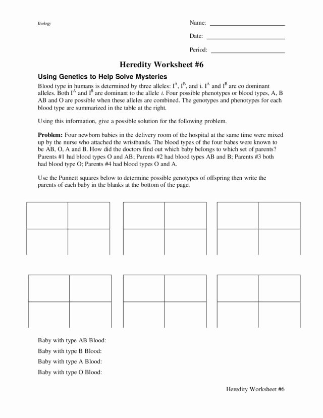 Blood Type and Inheritance Worksheet Inspirational Heredity Worksheet Blood Type Worksheet for 9th 12th
