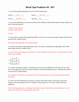 Blood Type and Inheritance Worksheet Luxury Blood Type Worksheet