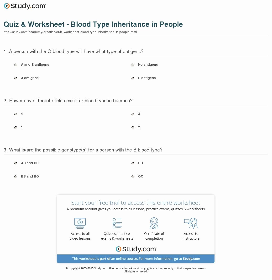 Blood Type and Inheritance Worksheet Luxury Quiz & Worksheet Blood Type Inheritance In People
