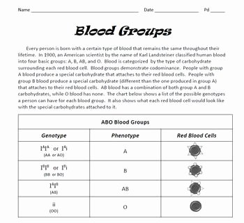 Blood Type and Inheritance Worksheet New Genetics Blood Groups Punnett Square Practice