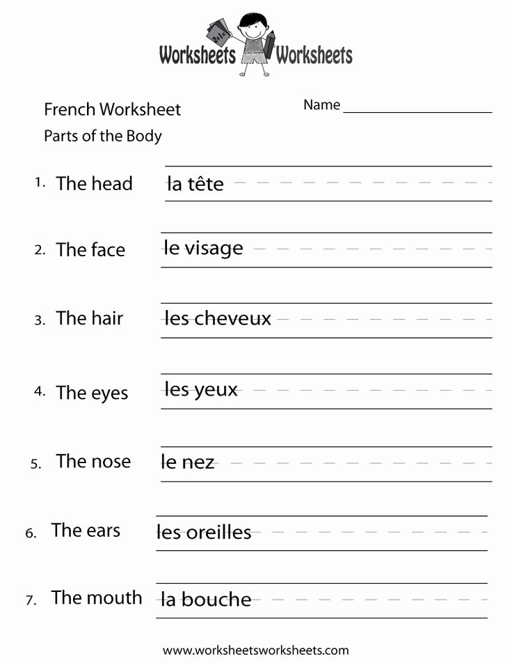 Body Parts In Spanish Worksheet Luxury French Body Parts Worksheet Printable