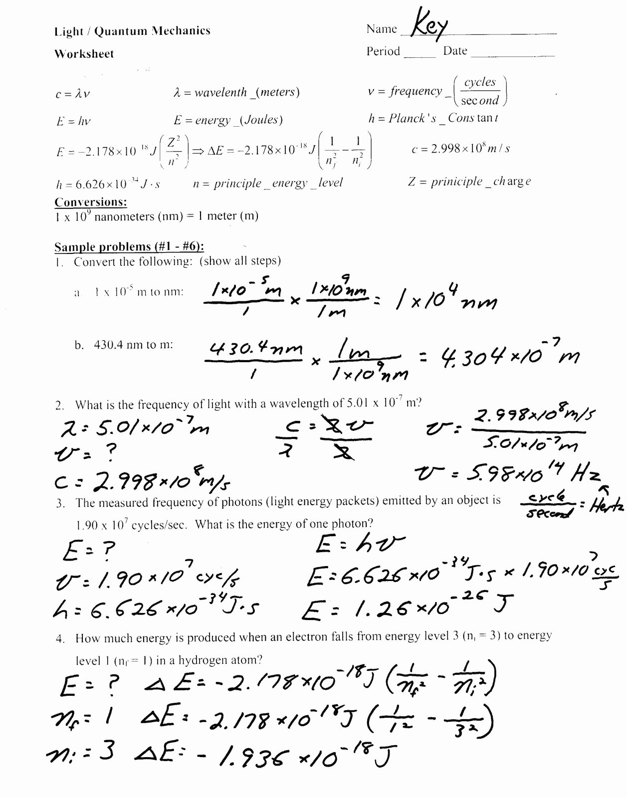 Bohr Model Worksheet Answers Best Of Heritage High School Honors Physical Science Light