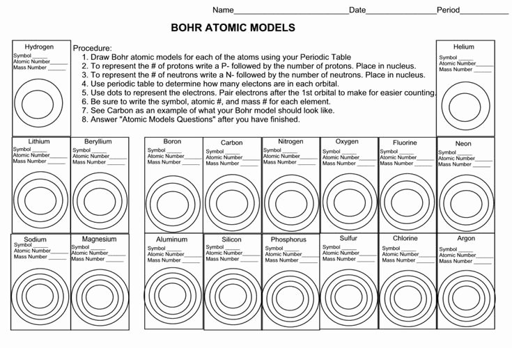 Bohr Model Worksheet Answers New Blank Bohr Model Worksheet Blank Fill In for First 20