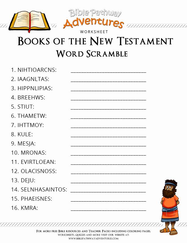 Books Of the Bible Worksheet Beautiful Free Bible Worksheet Books Of the New Testament