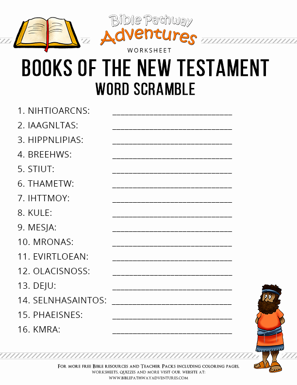 Books Of the Bible Worksheet New Free Bible Worksheet Books Of the New Testament