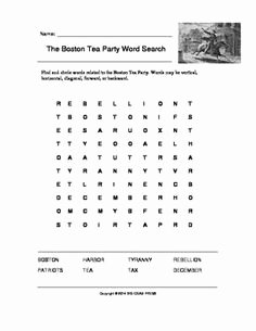 Boston Tea Party Worksheet Awesome 14 Best Of American Revolution Word Search