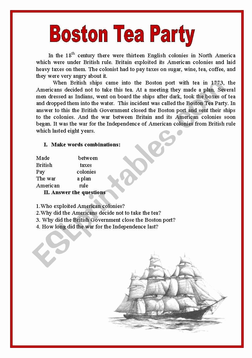 Boston Tea Party Worksheet Awesome Boston Tea Party Esl Worksheet by Spankevich