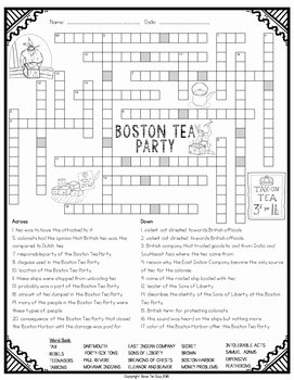 Boston Tea Party Worksheet Lovely Boston Tea Party Crossword by Bow Tie Guy and Wife